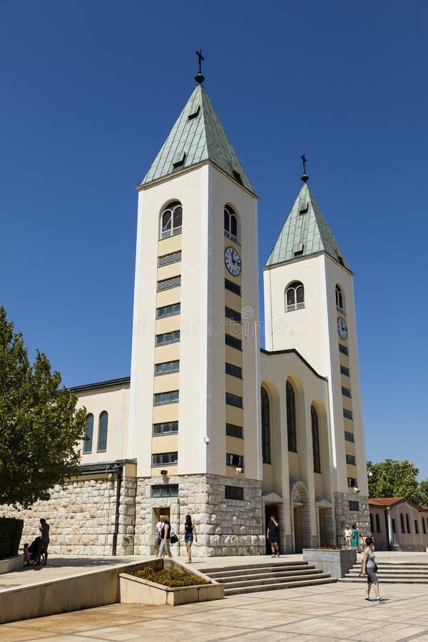 Medjugorje, Bośnia i Herzegowina, Lipiec 15 2017: Świętego James kościół w Medjugorje obrazy stock