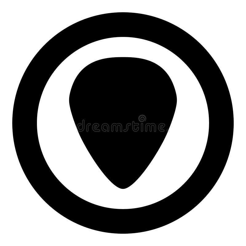 Medlare för färg för gitarrsymbolssvart i cirkel royaltyfri illustrationer