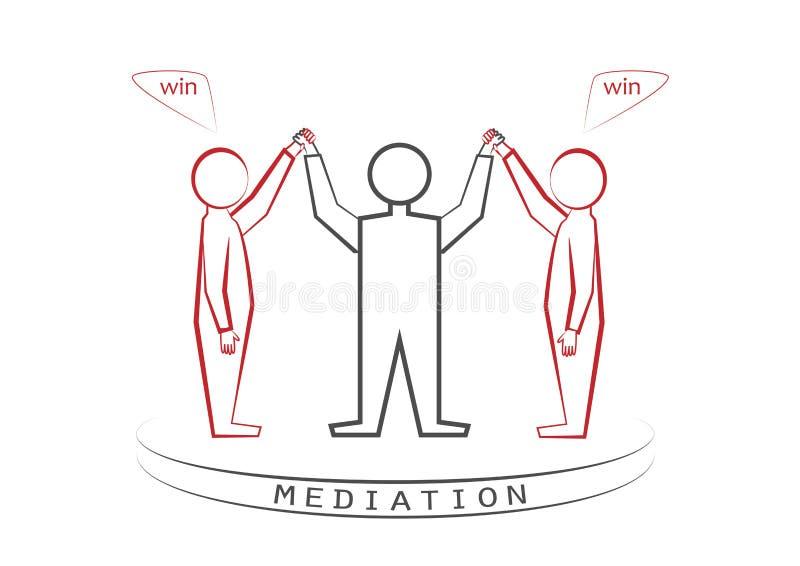 Medlare och två personer som isoleras på vit bakgrund för th, vinnare - vinnareprincipen, seger - seger, främre sikt, vektorillus royaltyfri illustrationer