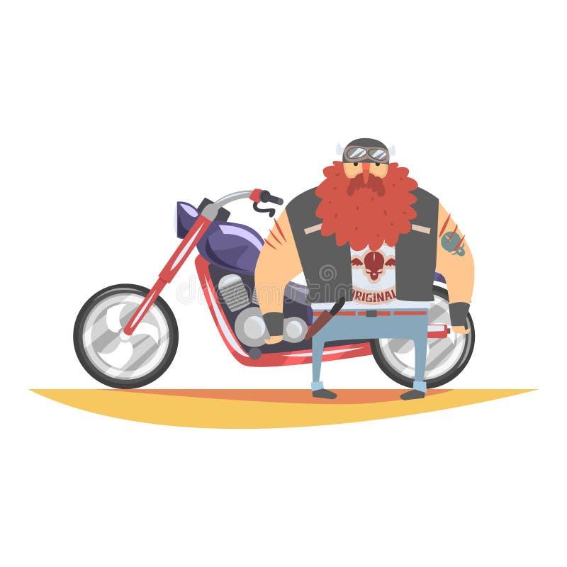 Medlem för fredlöscyklistklubba med det långa skägget och tatueringar som står bredvid tunga Chopper In Leather Vest vektor illustrationer