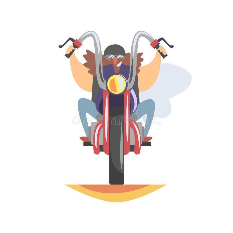 Medlem för fredlöscyklistklubba med det långa skägget som att närma sig på tunga Chopper In Leather Vest Smiling royaltyfri illustrationer