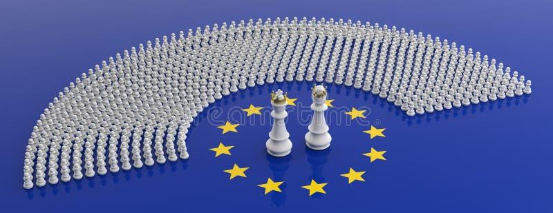 Medlemmar av Europaparlamentet som pantsätter och en flagga för europeisk union för för schackkonung och queenon illustration 3d vektor illustrationer