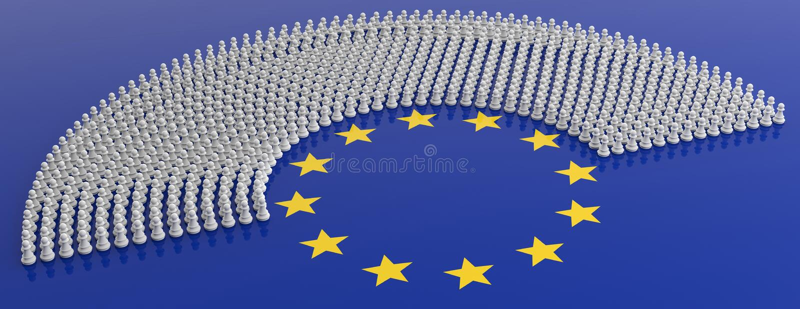 Medlemmar av Europaparlamentet, som schack pantsätter på flagga för europeisk union illustration 3d vektor illustrationer