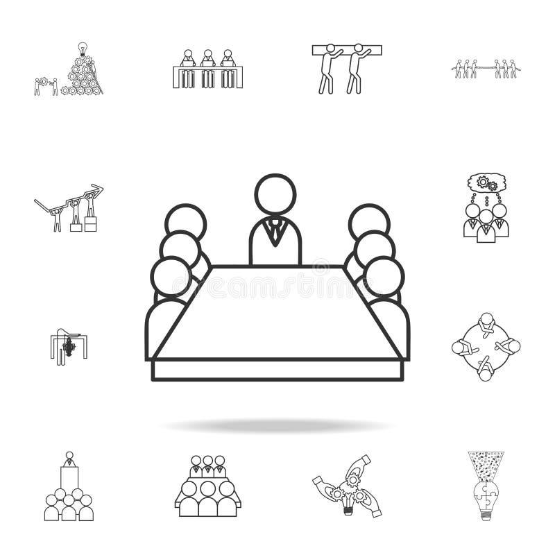 Medlemmar för bräderum som sitter runt om en tabellsymbol Detaljerad uppsättning av symboler för lagarbetsöversikt Högvärdig kval vektor illustrationer