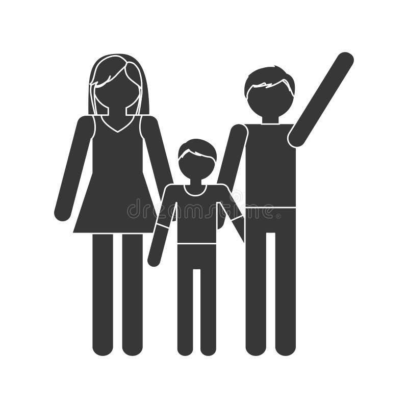 medlemmar för farsa och för son för konturfamiljmamma tillsammans vektor illustrationer