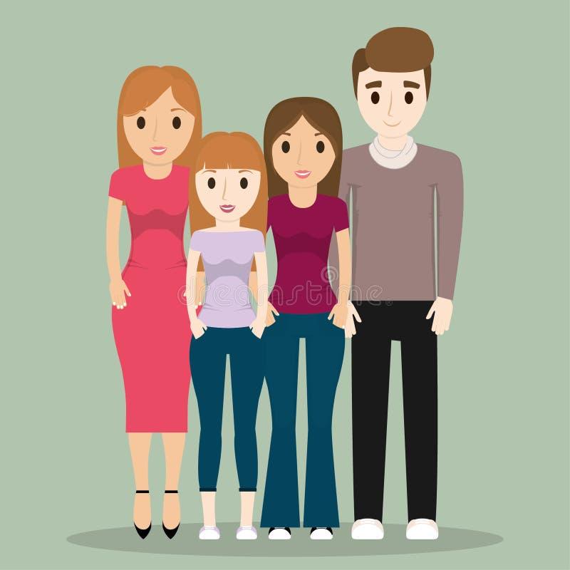 Medlemtecknade filmer av familjdesignen royaltyfri illustrationer