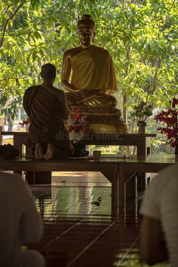 medling i ett buddistiskt tempel Thailand fotografering för bildbyråer