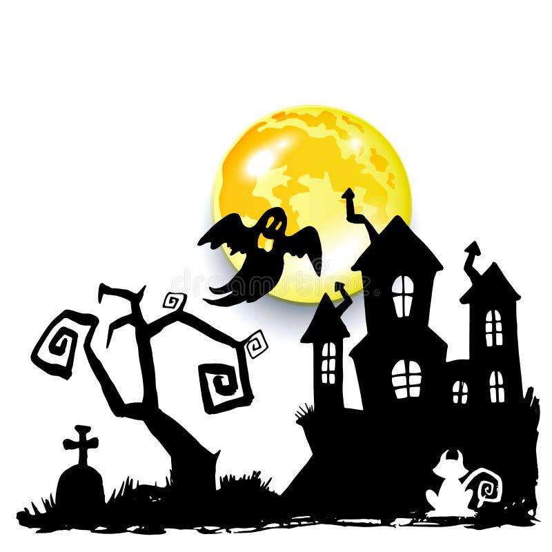 Medo assustador dos desenhos animados da ilustração do Dia das Bruxas do vetor de Ghost ilustração do vetor