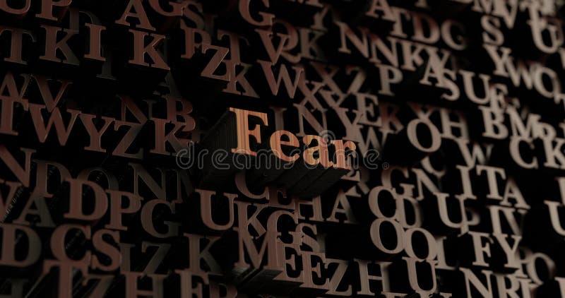 Medo - 3D de madeira rendeu letras/mensagem ilustração do vetor