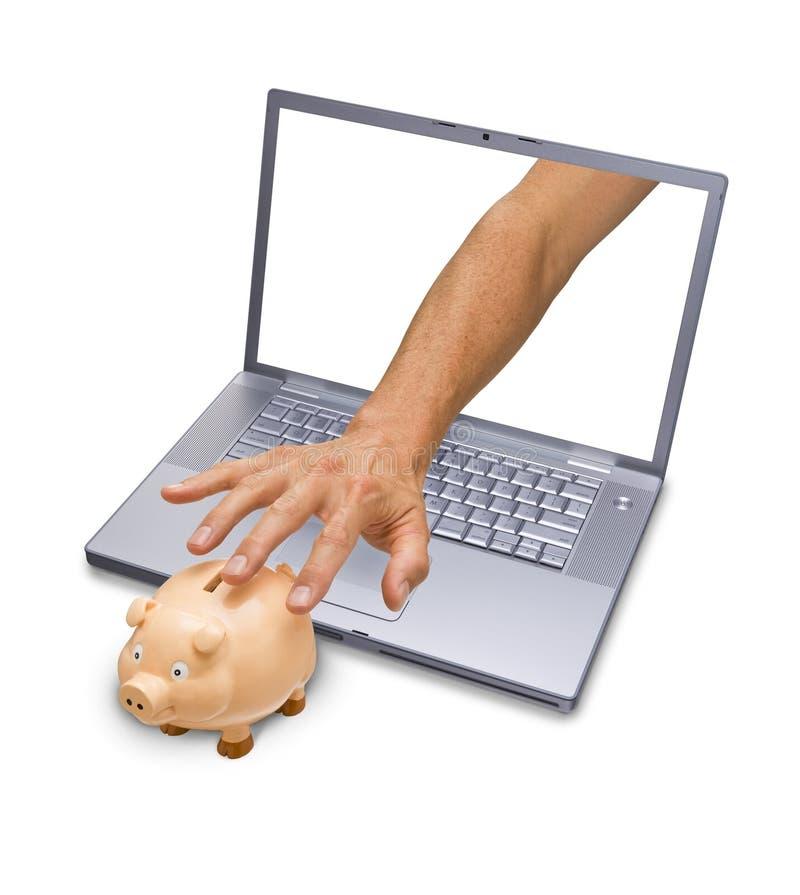 Medo da operação bancária do Internet imagens de stock