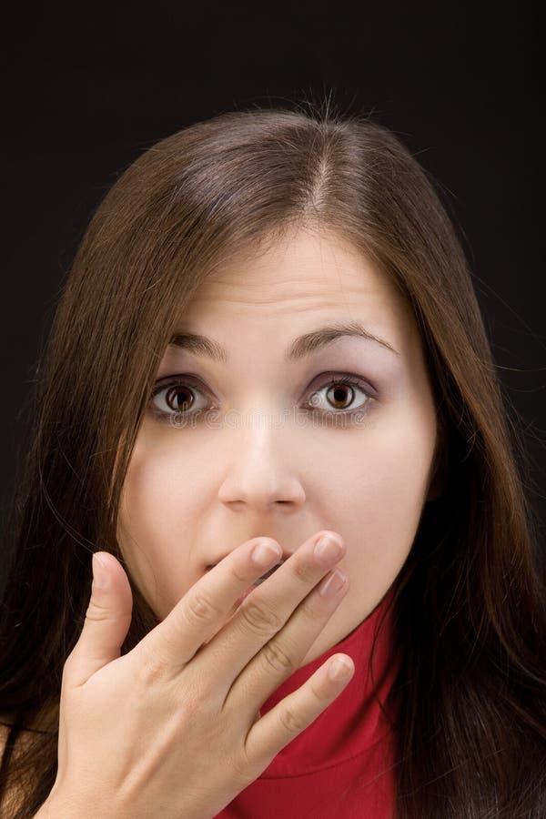 Medo da vítima da mulher da violência doméstica imagem de stock royalty free
