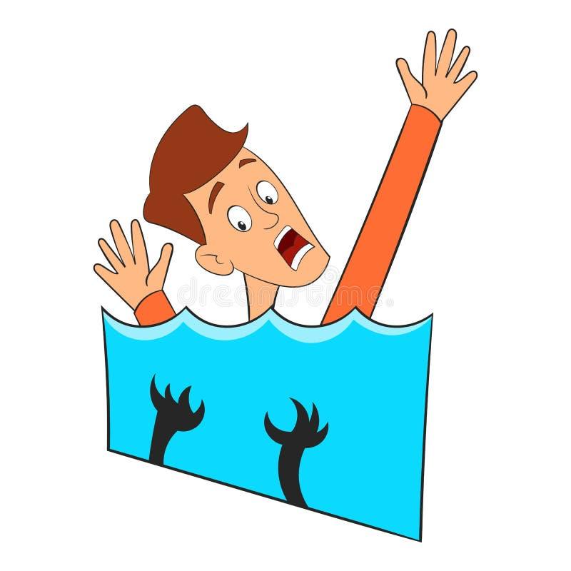 Medo do ícone da água, estilo dos desenhos animados ilustração stock