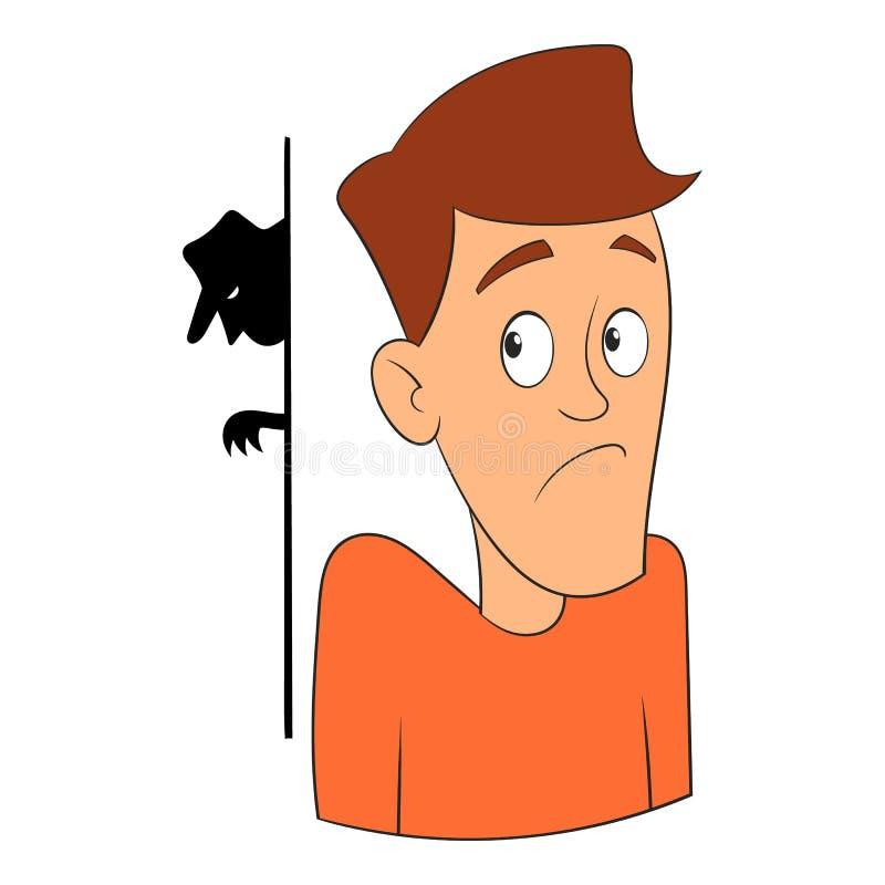 Medo do ícone do ladrão, estilo dos desenhos animados ilustração royalty free