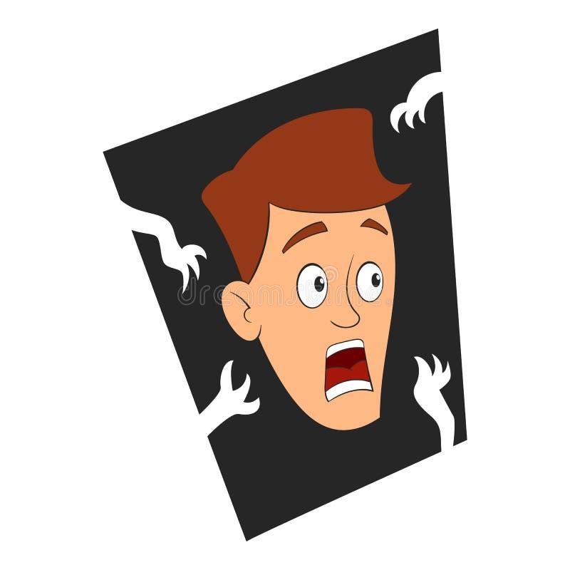 Medo do ícone escuro, estilo dos desenhos animados ilustração royalty free