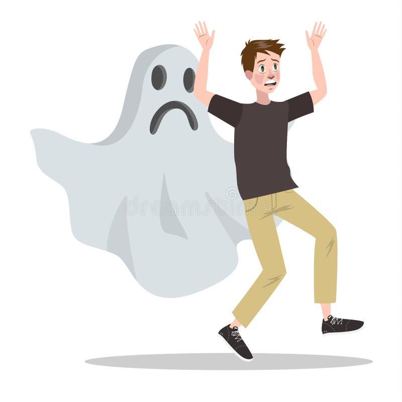 Medo do mal do fantasma e do caráter assustador ilustração do vetor