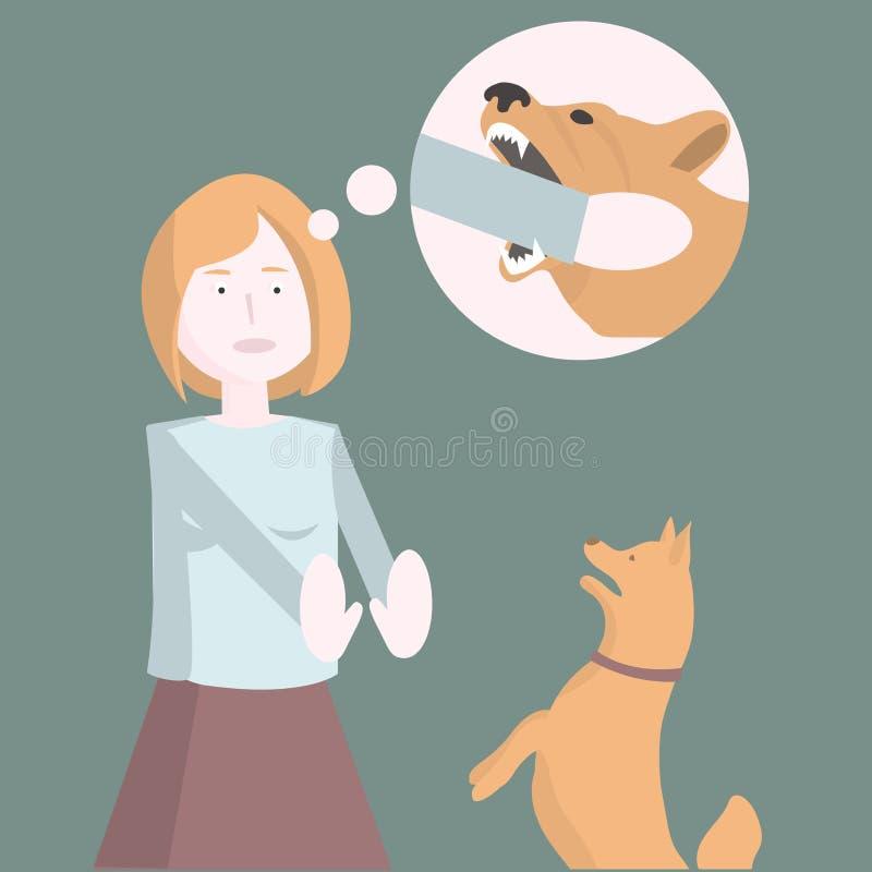 Medo dos cães A menina está receosa do cão Ilustração do vetor ilustração royalty free