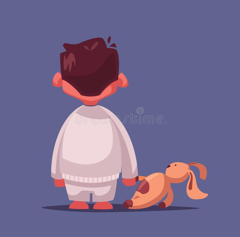 medo Pesadelo para uma criança Ilustração do vetor dos desenhos animados Menino com um brinquedo ilustração do vetor