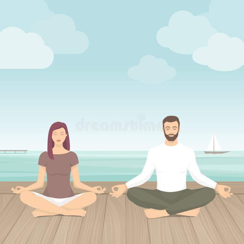 Medtation di pratica delle coppie all'aperto royalty illustrazione gratis