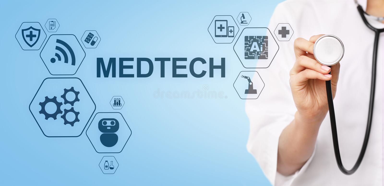 Medtech medical technology information integration internet big data concept on virtual screen. Doctor with stethoscope. stock image