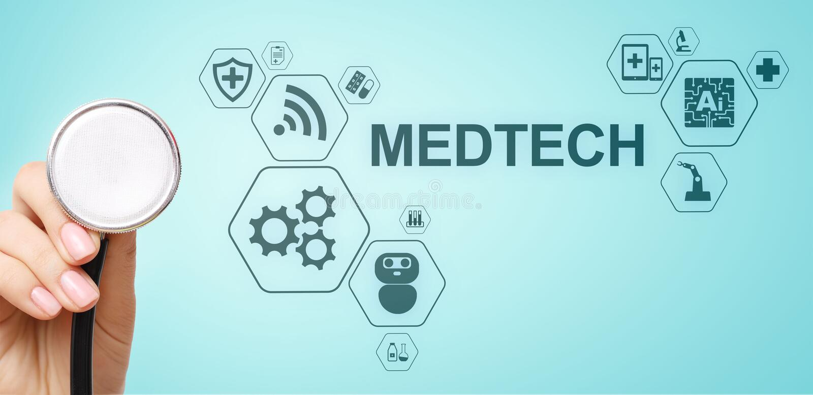 Medtech medical technology information integration internet big data concept on virtual screen. Doctor with stethoscope. royalty free stock image