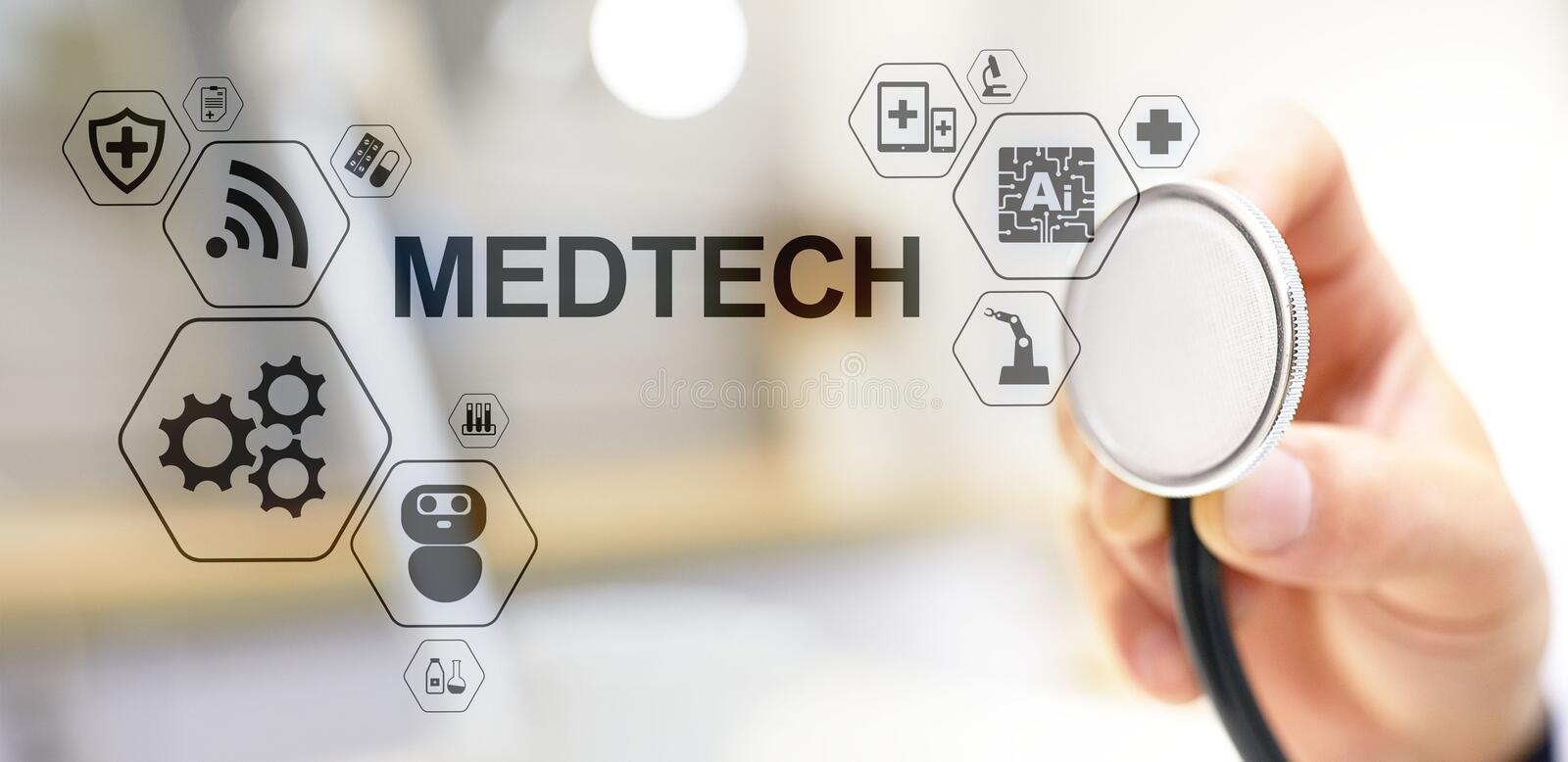 Medtech medical technology information integration internet big data concept on virtual screen. Doctor with stethoscope. royalty free stock photography