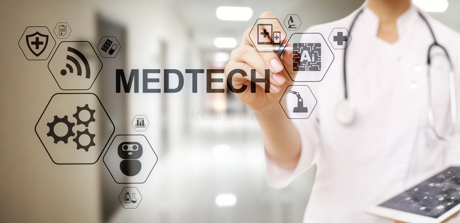 Medtech medical technology information integration internet big data concept on virtual screen. Doctor with stethoscope. vector illustration