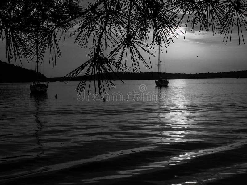 Medulin, Croatia. Seaside, sailing, hrvatska, bnw, blackandwhite royalty free stock photos