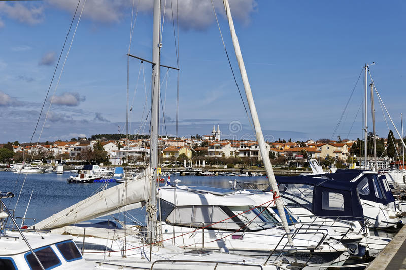 Medulin harbor. MEDULIN, CROATIA - MARCH 3, 2017: Detail of Medulin, Croatian touristic place in early spring on March 3, 2017 royalty free stock photo