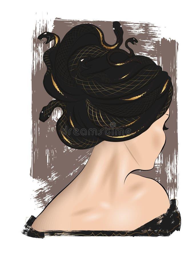Medusa απεικόνιση Gorgon Τελειοποιήστε για το ντεκόρ όπως οι αφίσες, τέχνη τοίχων, tote τσάντα, τυπωμένη ύλη μπλουζών, αυτοκόλλητ απεικόνιση αποθεμάτων