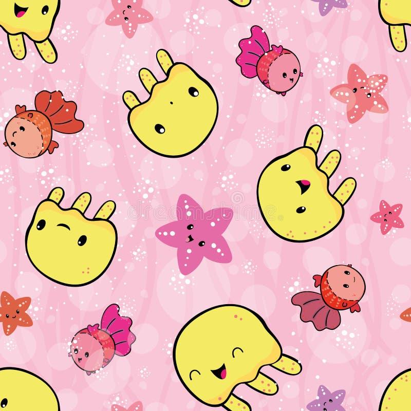 Medusa amarelas brincalhão e jogo cor-de-rosa da estrela do mar Teste padrão sem emenda do vetor no fundo cor-de-rosa com bolha t ilustração stock