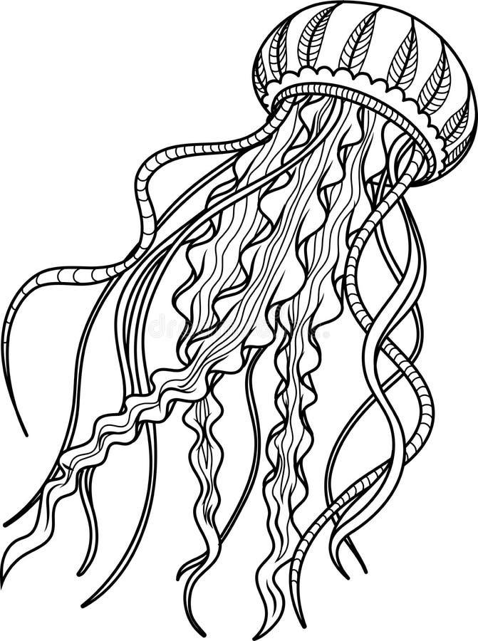 Medusa antistress Entregue o esboço tirado para a página antistress adulta da coloração imagem de stock royalty free