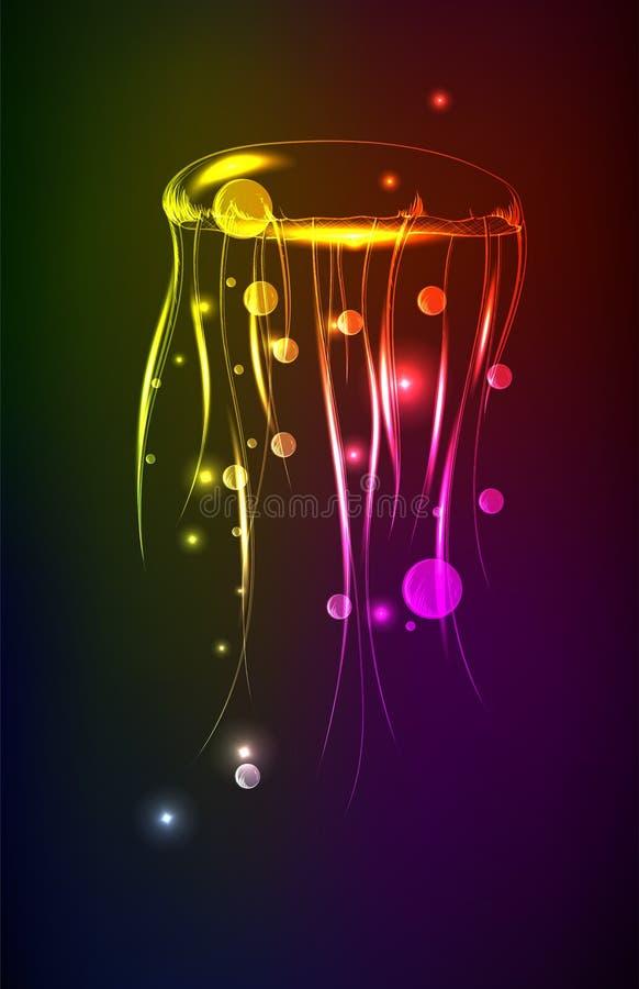 Medusa de brilho composto Conceito digital do animal marinho ilustração royalty free