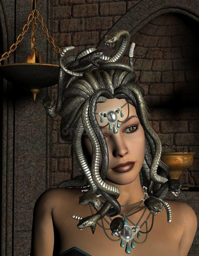 Medusa delante de la capilla ilustración del vector