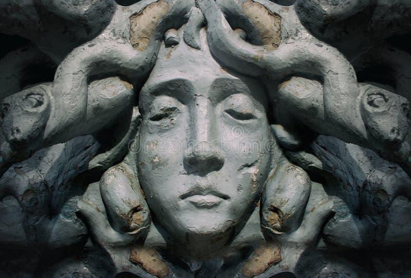 Medusa goddess face statue. royalty free stock photography