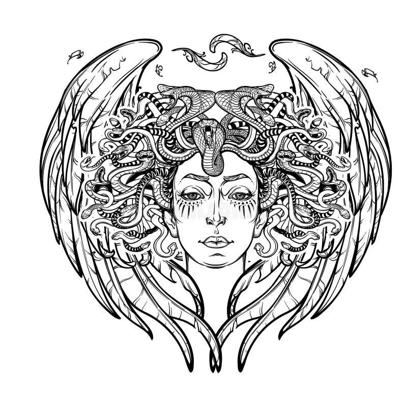 Medusa gorgon bw sketch stock vector illustration of for Medusa da colorare