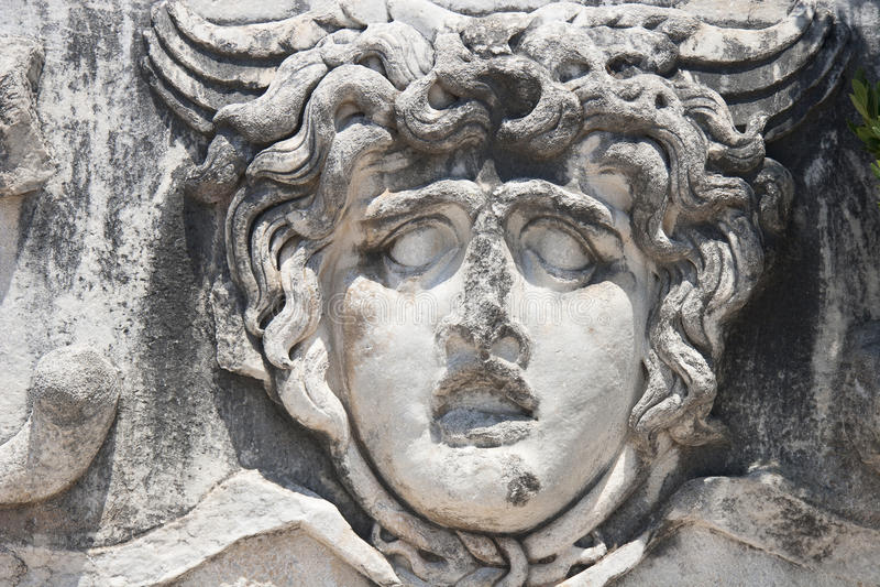 Medusa Gorgon i Apollo Temple arkivfoto