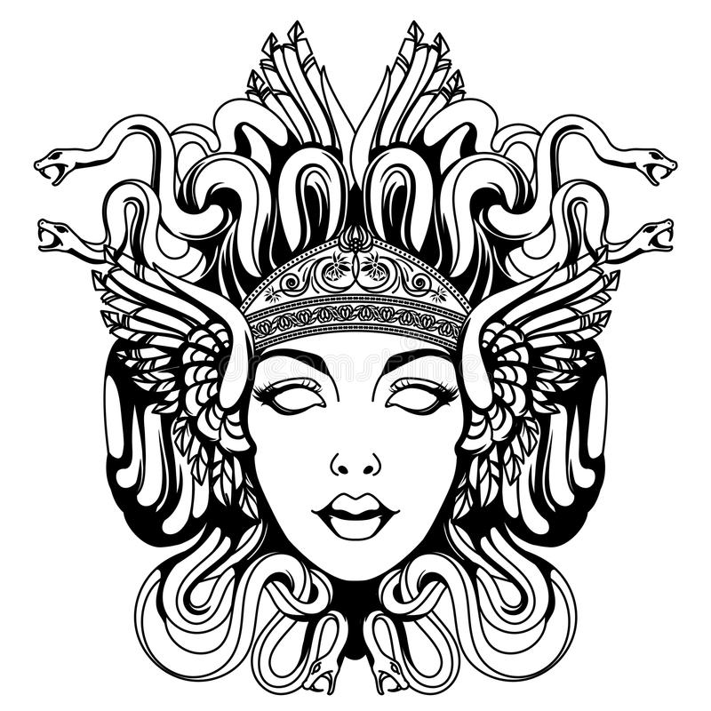 Medusa gorgon portrait royalty free illustration