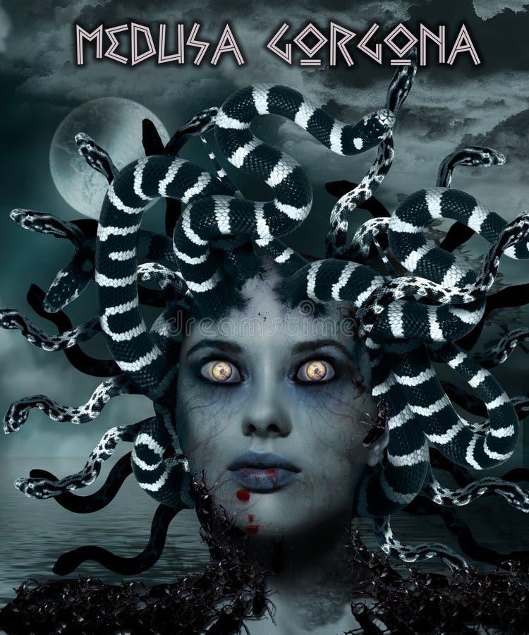 Medusa Gorgona royaltyfri illustrationer