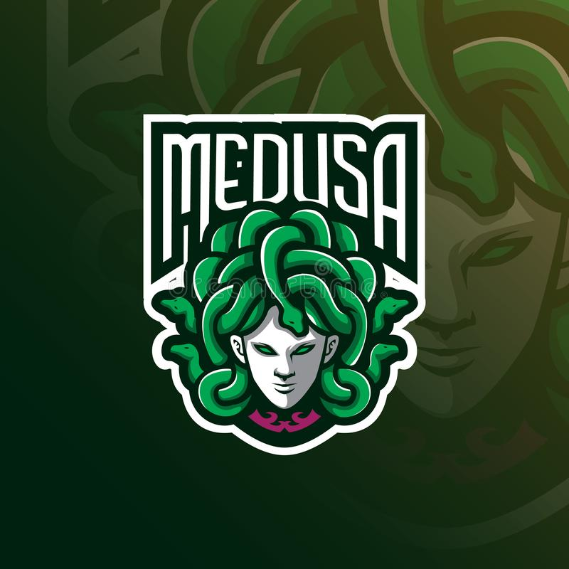 Medusa mascot logo design vector with modern illustration concept style for badge, emblem and t shirt printing. angry medusa stock illustration