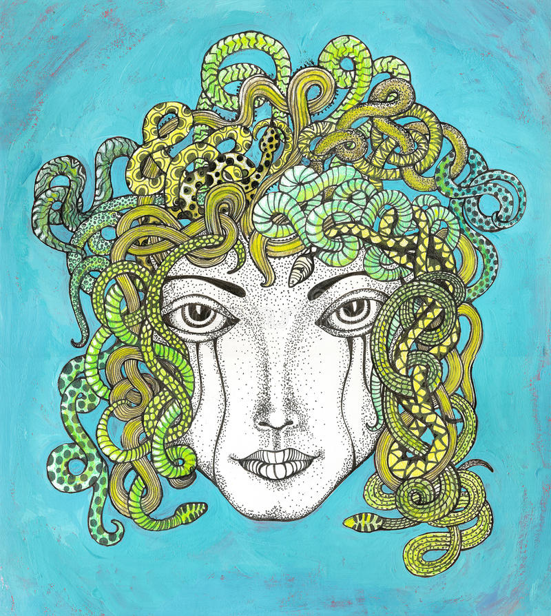Medusa med hår av ormar royaltyfri illustrationer