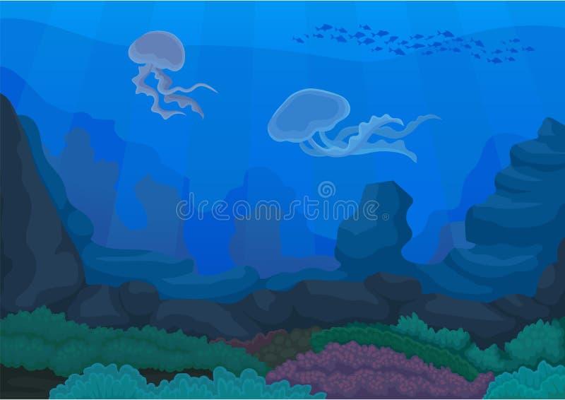 Medusa sob a água Oceano e mundo subaquático ilustração royalty free