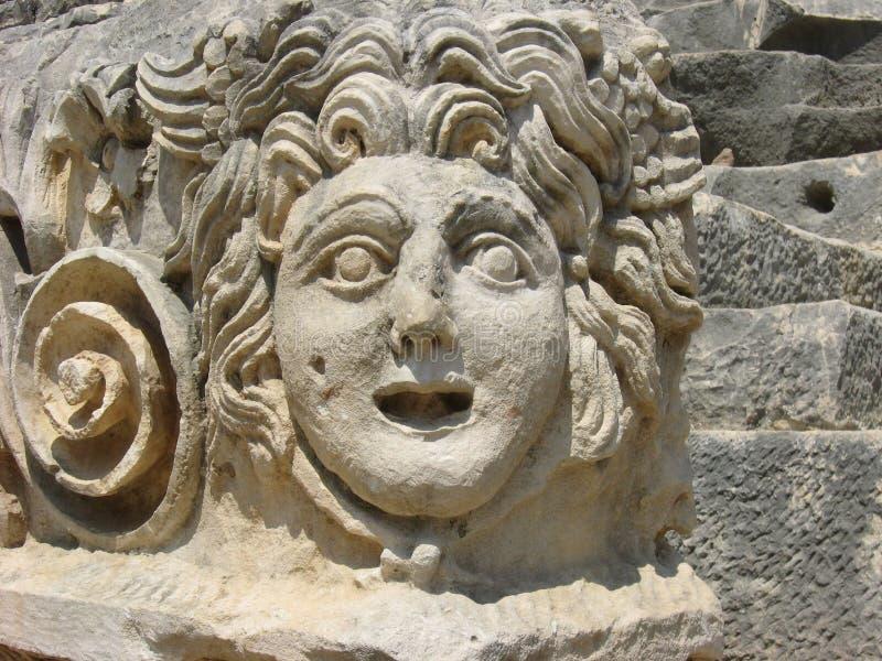 Medusaen Gorgon sten-sned huvudet i den forntida staden Myra arkivfoto