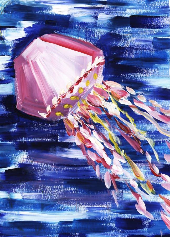medusas Pintura abstrata do impressionismo Pintado à mão com guache em um papel ilustração do vetor