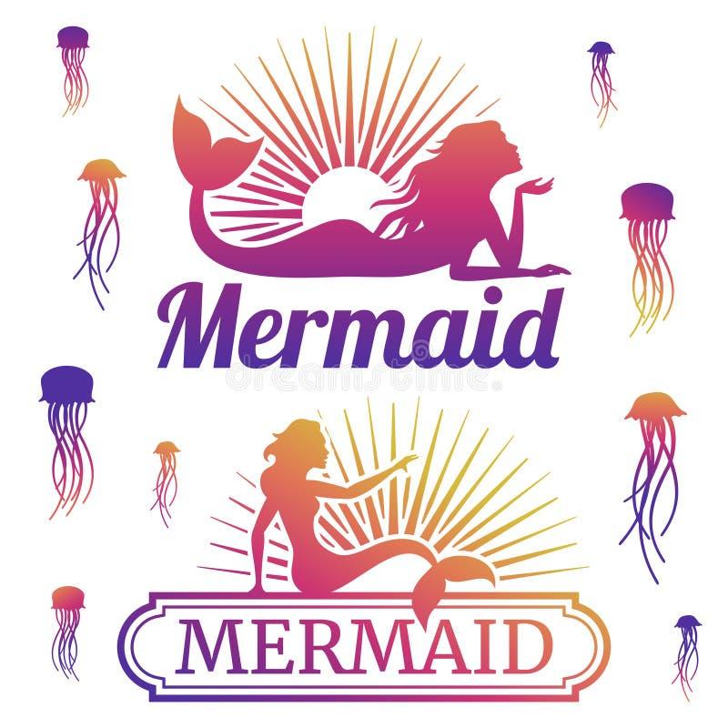 Medusas y siluetas de la sirena ilustración del vector
