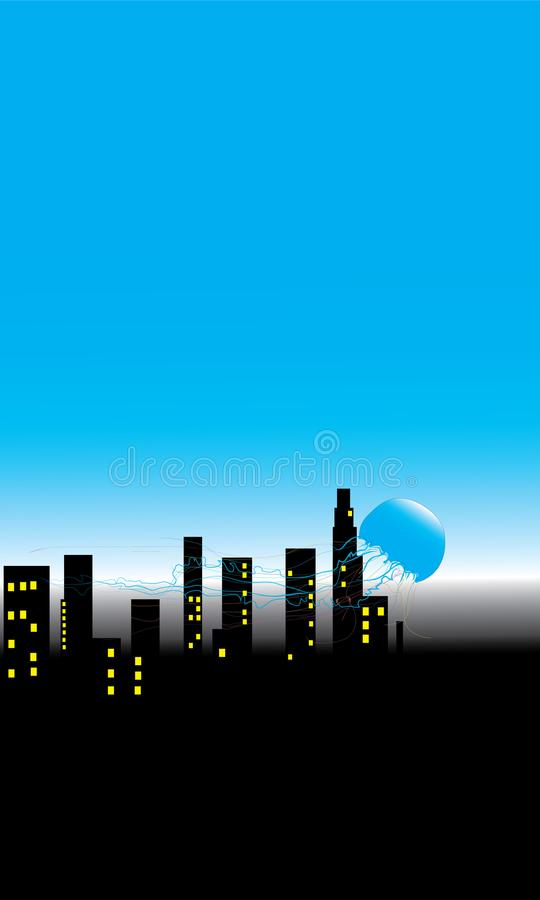 Meduse e la gente di notte in grandi città illustrazione di stock