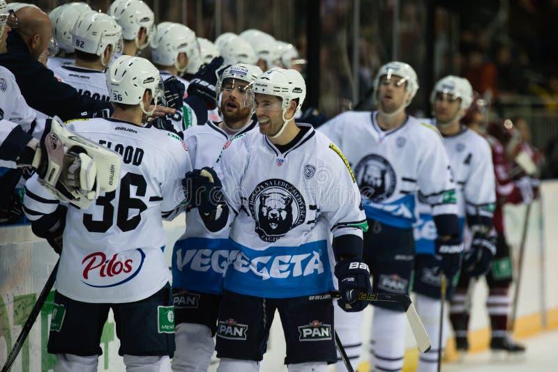 Medvescak Zagreb bate Dinamo Riga 2-1 fotografia de stock