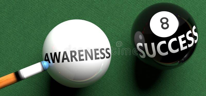 Medvetenhet är en framgång - uppfattad som ordmedvetenhet i en poolboll, för att symbolisera att medvetenheten kan leda till fram royaltyfri illustrationer