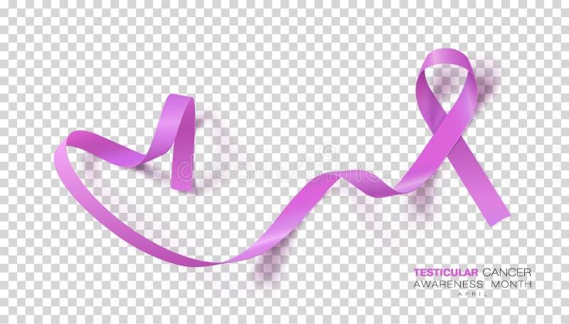 Medvetenhetmånad för Testicular cancer Orkidéfärgband på genomskinlig bakgrund Vektordesignmall för vektor illustrationer