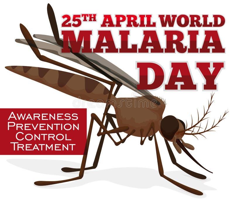 Medvetenhetpropaganda med myggan för världsmalariadagen, vektorillustration vektor illustrationer