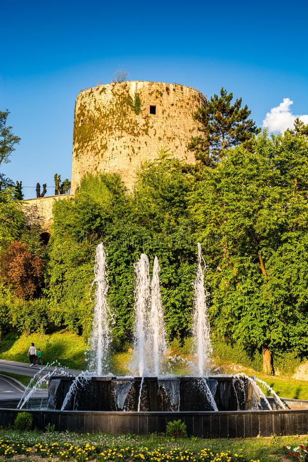 Medvjed kula - bears tower and fountain in Jajce, Bosnia and Herzegovina.  stock photo
